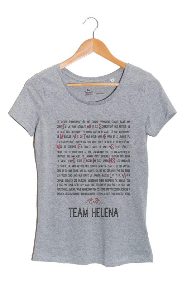 TEAM HELENA HERO CORP emilie arthapignet tshirt femme gris ASSOCIATION dis camion autopalpation